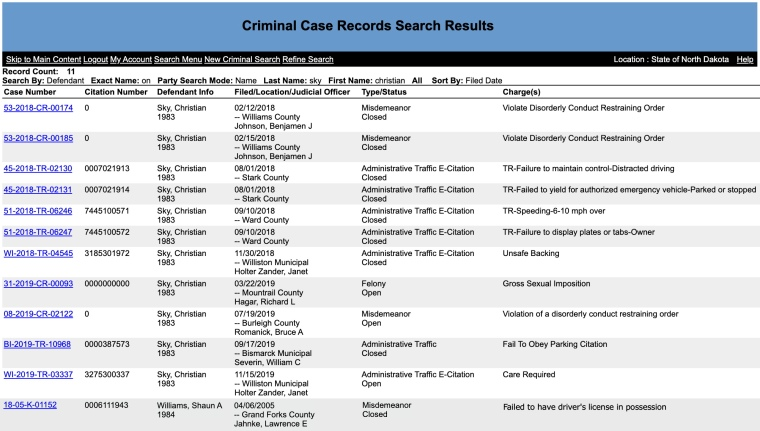 North Dakota official criminal case records search for Williams/Sky